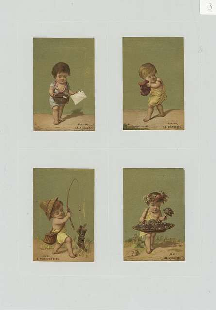 Trade cards using months as themes depicting children : collecting flowers, catching a boot with a fishing pole, with a mask, holding a paper and bag.