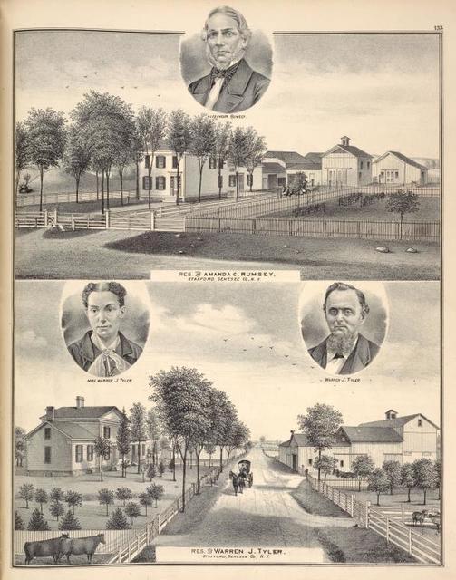 Alexander Rumsey. ; Res. of Amanda C. Rumsey, Stafford, Genesee Co., N.Y. ; Mrs. Warren J. Tyler. ; Warren J. Tyler. ; Res. of Warren J. Tyler, Stafford, Genesee Co., N.Y.