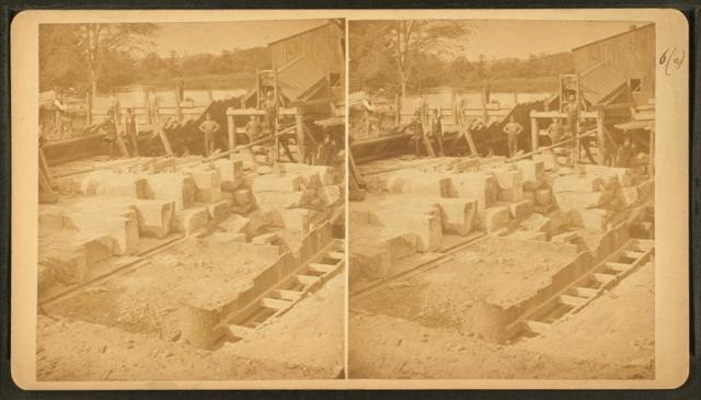 Boston water works, Sudbury River Conduit, Aug. 1876, Dam no. 1, Pairing below overflow, south side of river.