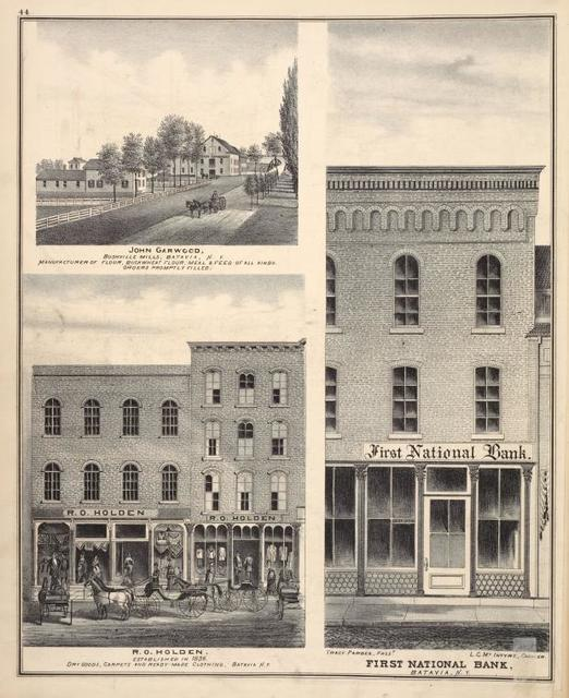 John Garwood, Bushville Mills, Batavia, N.Y. Manufacturer Flour, Buckwheat Flour, Meal & Feed of all kinds. Orders Promptly Filled. ; R. O. Holden, Established in 1836. Dry Goods, Carpets and ready made Clothing, Batavia, N.Y. ; Tracy Pardee, Prest. ; First National Bank, Batavia, N.Y. ; L. C. Mc. Intyre, Cashier.