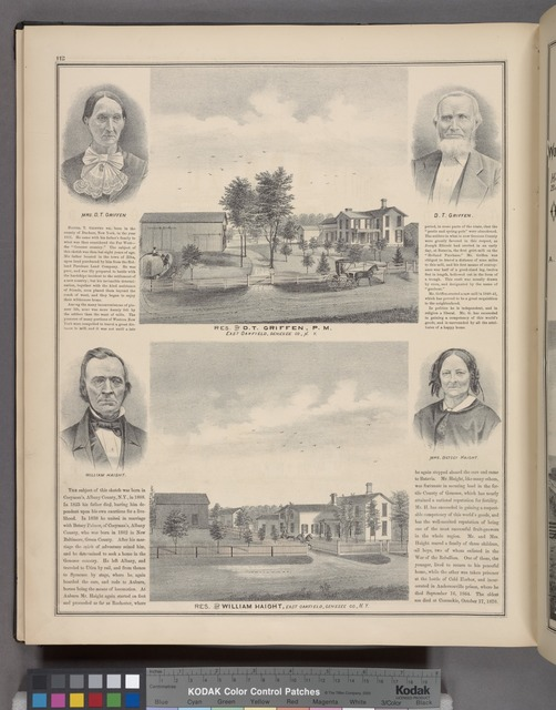 Mrs. D. T. Griffen. ; Res. of D. T. Griffen, P. M., East Oakfield, Genesee Co., N.Y. ; D. T. Griffen. ; William Haight. ; Res. of William Haight, East Oalfield, Genesee Co., N.Y. ; Mrs. Betsey Haight.