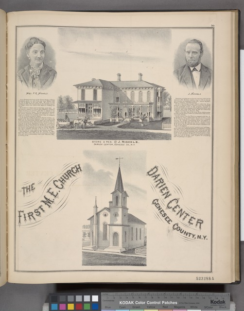 Mrs. P. R. Nichols. ; Store & Res. of J. Nichols, Darien TP., Genesee Co., N.Y. ; J. Nichols. ; The First M. E. Church, Darien Center, Genesee County, N.Y.