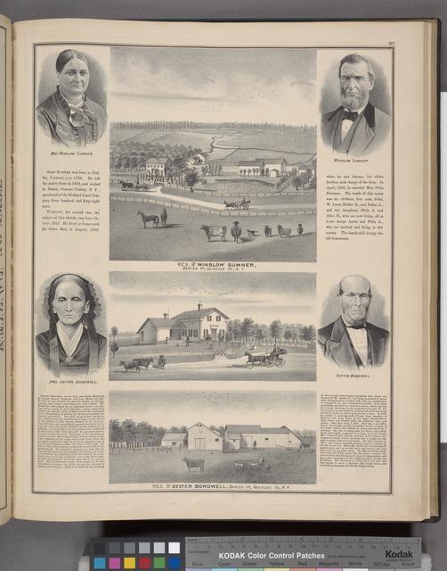 Mrs. Winslow Sumner. ; Res. of Winslow Sumner, Darien TP., Genesee Co., N.Y. ; Winslow Sumner. ; Mrs. Dexter Bordwell. ; Res. of Dexter Bordwell, Darien TP., Genesee Co., N.Y. ; Dexter Bordwell.