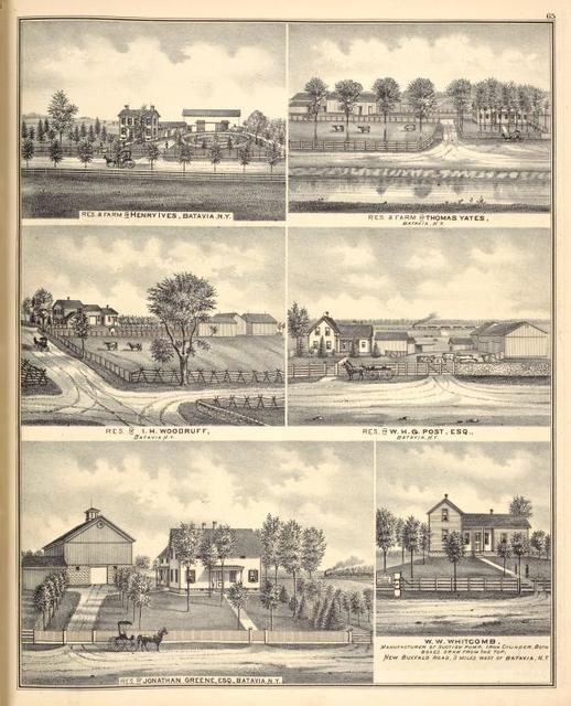 Res. & Farm of Henry Ives, Batavia, N.Y. ; Res. of I. H. Woodruff, Batavia, N.Y. ; Res. of Jonathan Greene, Esq., Batavia, N.Y. ; Res. & Farm of Thomas Yates, Batavia, N.Y. ; Res. of W. H. G. Post, Esq., Batavia, N.Y. ; W. W. Whitcomb, manufacturer of Suction Pump, Iron Cylinder, both Boxes Draw from the top, New Buffalo Road, 3 miles west of Batavia, N.Y.