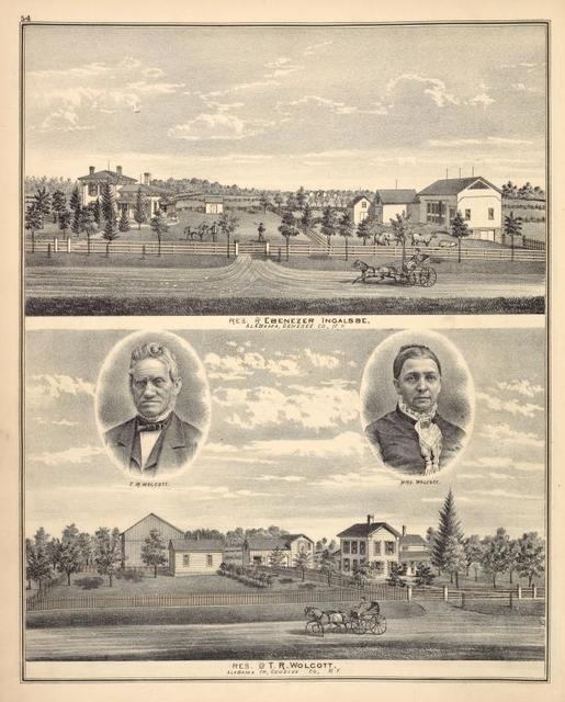 Res. of Ebenezer Ingalsbe, Alabama, Genesee Co., N.Y. ; T. R. Wolcott. ; Mrs. Wolcott. ; Res. of T. R. Wolcott, Alabama TP., Genesee Co., N.Y.