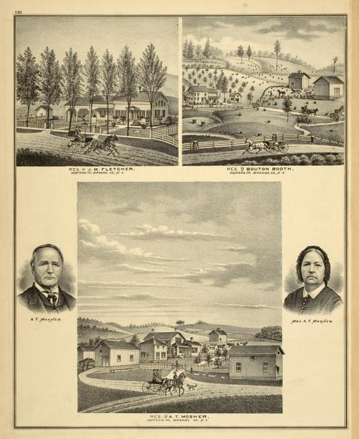 Res. of J.M. Fletcher, Sanford TP, Broome Co., N.Y.; Res. of Bouton Booth, Sanford TP, Broome Co., N.Y.; A.T. Mosher, Mrs. A.T. Mosher; Res. of A.T. Mosher, Sanford TP, Broome Co., N.Y.