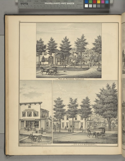 Residence of Ranson Howland. First President of Whitney's Point, Broome Co., N.Y.; Store & Res. of John Johnson, Dealer in Hardware, Stoves Tinware, Glassware, Cutlery Farming Implements & C. Whitney's Point, Broome Co., N.Y.; Residence of J.H. Burghardt, Collins St., Whitney's Point, Broome Co., N.Y.
