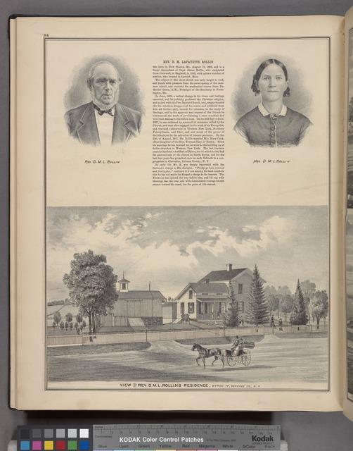 Rev. D. M. L. Rollin ; Mrs. D. M. L. Rollin ; View of Rev. D. M. L. Rollin's Residence, Byron TP., Genesee Co., N.Y.