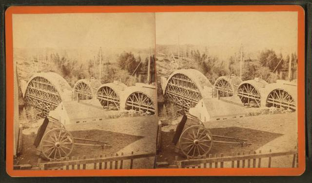 """Sudbury River Conduit, B.W.W., div. 4, sec. 15, Nov. 13, 1876. View of arches """"A,"""" """"C,"""" """"D,"""" and """"E"""" with centrings from house above Ellis St."""