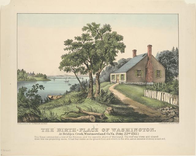 The birth-place of Washington. At Bridges Creek, Westmoreland Co. Va.