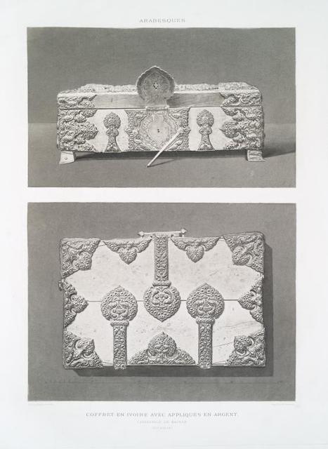 Arabesques : coffret en ivoire avec appliques en argent, Cathédrale de Bayeux (XIIe. siècle)