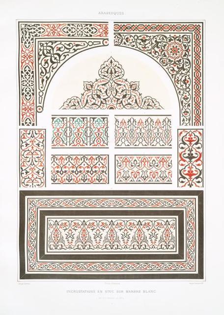 Arabesques. Incrustations en stuc sur marbre blanc (du XVIe. siècle au XVIIIe.)