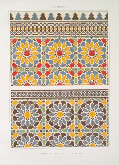 Arabesques : mihrab de la mosquée de Cheykhoun : faïences murales : 2