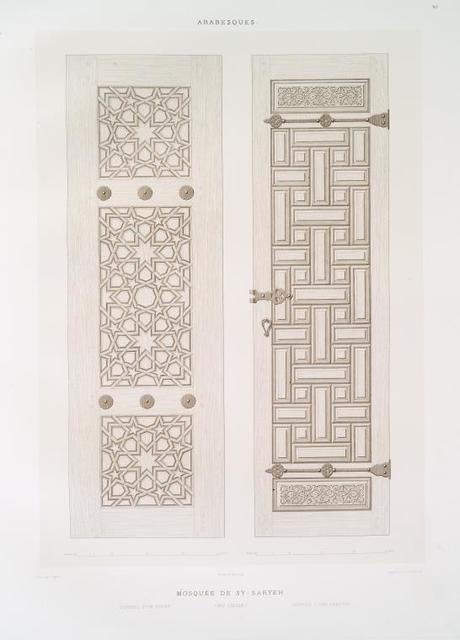 Arabesques : mosquée de Sy-Saryeh : ventail d'un volet, ventail d'une armoire (XVIe. siècle)