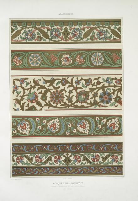 Arabesques : mosquée d'El-Bordeyny : frises et bordures des petites chambres (XVIIe. siècle)