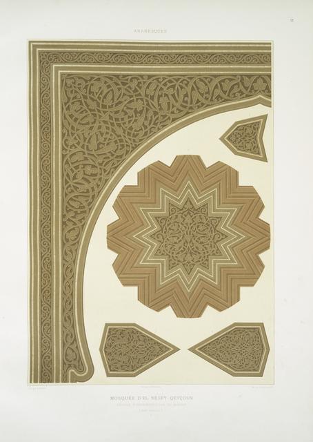 Arabesques : mosquée d'El Nesfy-Qeyçoun : détails d'ornementation du mimbar (XIVe. siècle) : 1