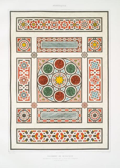 Arabesques : pavement de mosaïque, fragments disposée sur le plan des dorqâah (du XVIe. au XVIIIe. siècle)