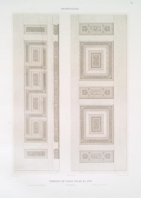 Arabesques : tombeau de Saleh Saleh el-Dyn : ventail d'une armoire, ventail d'un volet (XIVe. siècle)
