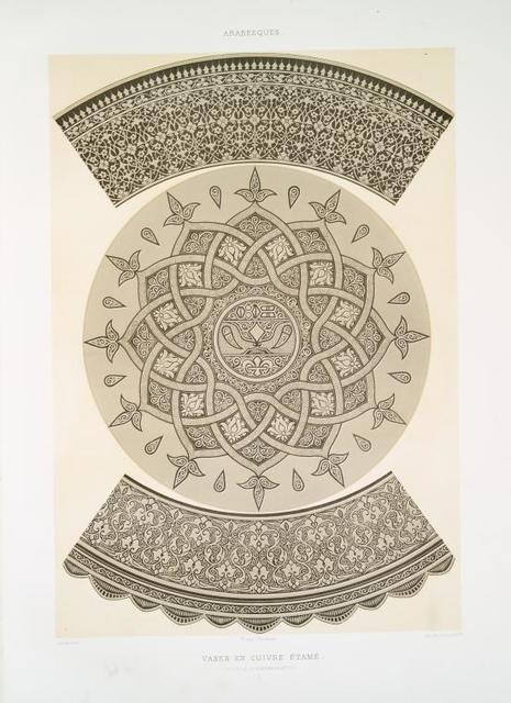 Arabesques : vase en cuivre étamé : détails d'ornementation : 0/0