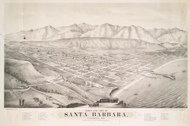 Bird's eye view of Santa Barbara, California, 1877.
