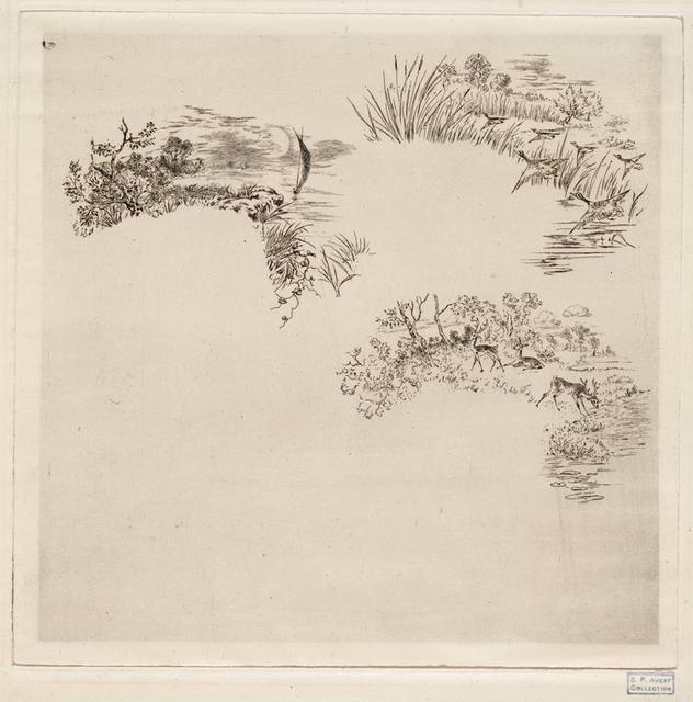 Décors pour cartels de bordures d'assiettes : Un etang, un canard, des cerfs (trois petits sujets séparés).