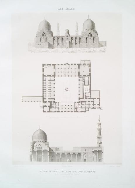 Mosquée sépulcrale de soultan Barqouq, état actuel, plan et coupe (XIVe. siècle)