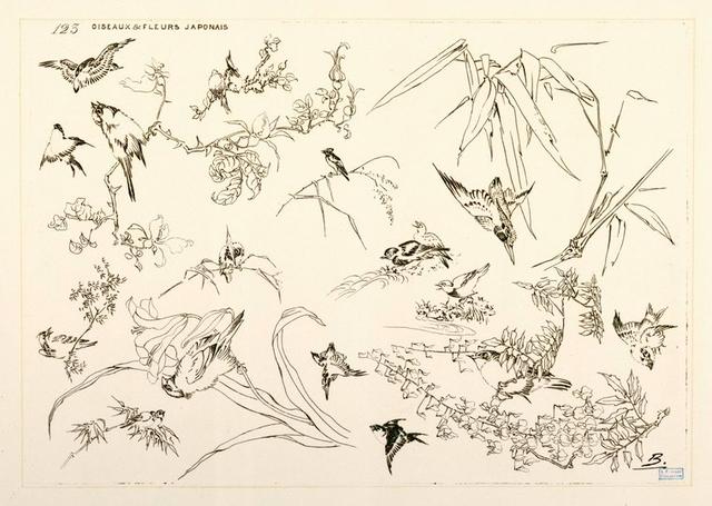 Oiseaux et fleurs japonais.