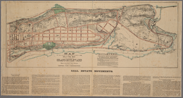 Map of that portion of the 12th ward of the City of New York showing the route of the Grand Boulevard and location of new avenues and streets lately laid out by the Central Park Commissioners