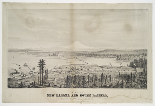 View of New Tacoma and Mount Rainier, Puget Sound, Washington Territory.