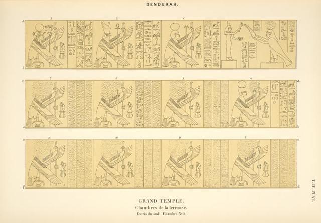 Denderah. Grand temple. Chambres de la terrasse. Osiris du sud. Chambre no. 2.