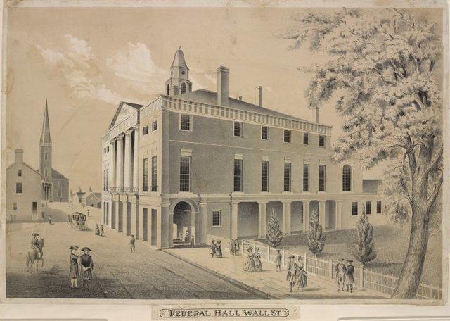 Federal Hall, Wall Street & Trinity Church, New York in 1789