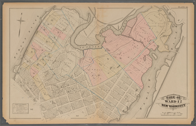 Plate 33: [Bounded by Hudson River, Spuyten Duyvil Creek, Harlem River, W. 208th Street, Tenth Avenue, W. 207th Street, Eleventh Avenue, Sherman Avenue, Dyckman Street and W. 204th Street.],