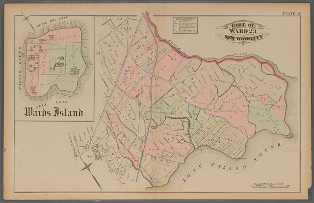 Plate 36: [Bounded by (Bronx River) Edgewater Road, Long Island Sound and West Chester Road; Inset of Wards Island.]