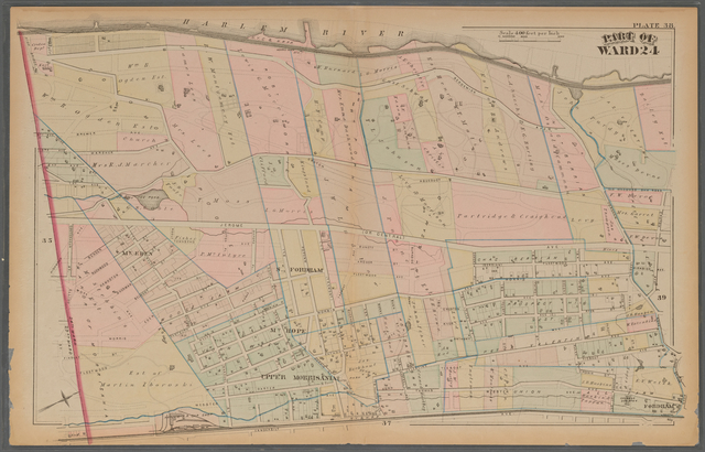 Plate 38: [Bounded by (Harlem River) Sedgewick Avenue, Fordham Landing Road, Kings Bridge Road, Vanderbilt Avenue and the 23rd Ward.]