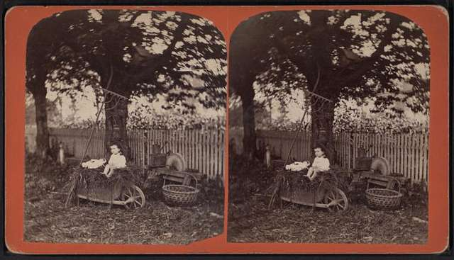 A child sitting in a wheelbarrow with her doll, ax sharpener, rake, basket and watering can nearby.
