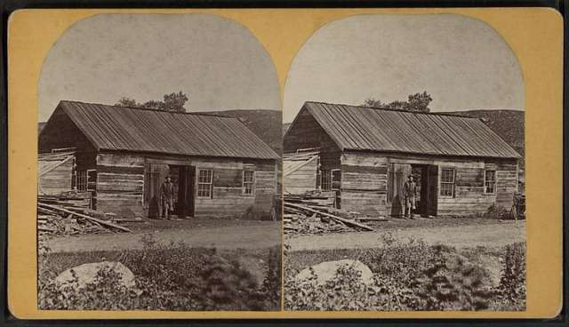 Man standing in front of his cabin, in or near Wevertown, N.Y.