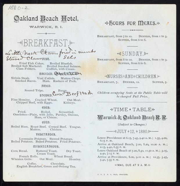 "BREAKFAST [held by] OAKLAND BEACH HOTEL [at] ""WARWICK, RI"" (HOTEL;)"