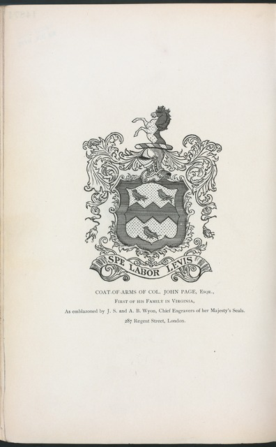 Coat-of-Arms of Col. John Page, Esqr.