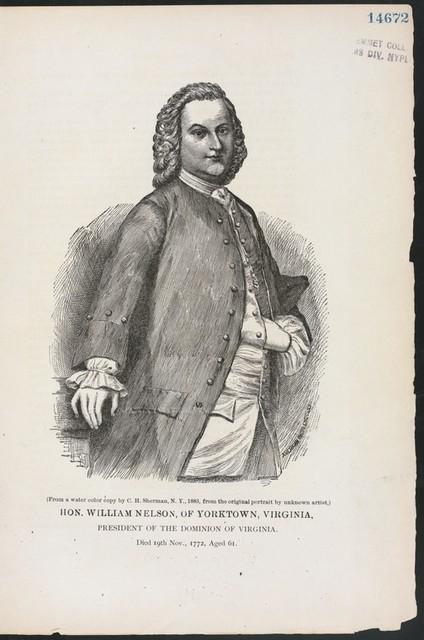 Hon. William Nelson, of Yorktown, Virginia, president of the dominion of Virginia.