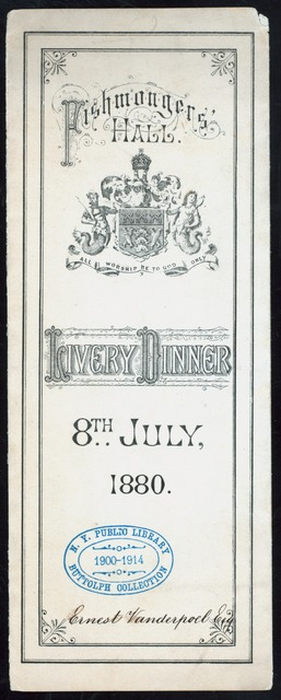 LIVERY DINNER [held by] FISHMONGER'S HALL [at] LONDON?