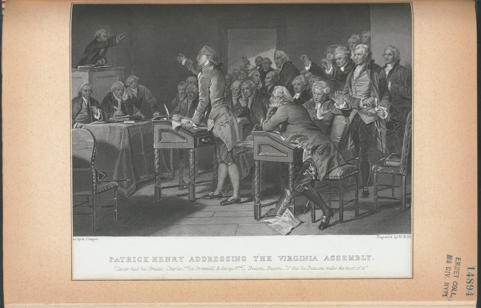 Patrick Henry addressing the Virginia Assembly.