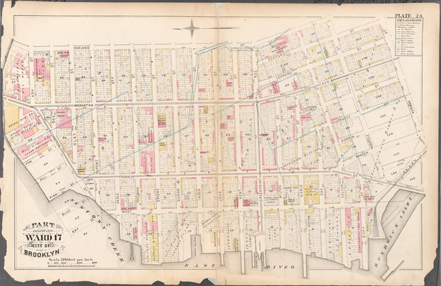 [Plate 23: Bounded by Oakland Street, Meserole Street, Eckford Street, Norman Street, 15th Street, (East River) West Street, Commercial Street and Ash Street.]