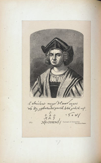 Portrait of Columbus, from Debry's Voyages,