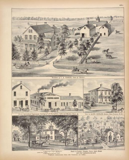 Residence of L. A. Parker, Town of Clarence. ; Stoves, Agricultural Implements, Castings of all Descriptions, Lathe and Machine Work, & c. ; Res. of Alex Goslin, Akron, Erie County, N.Y. ; Res. of Mr. W. N. Hoag, Akron, Erie Co., N.Y. ; Tenement House & Lumber Yards