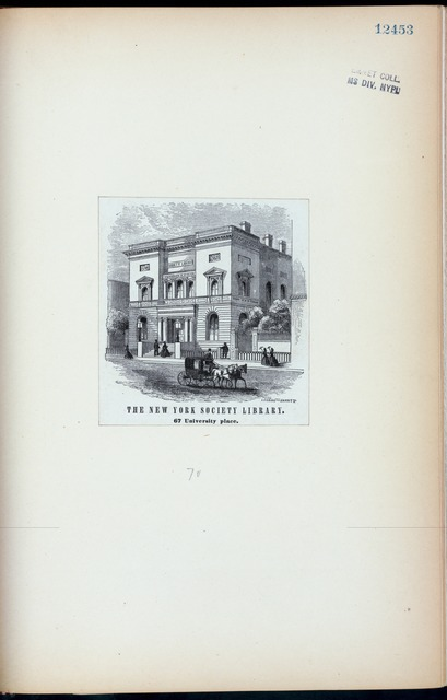 The New York Society Library, 67 University Place.