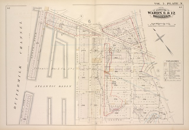 Vol. 5. Plate, N. [Map bound by Hamilton Ave., Carroll St., Columbia St., Verona St., East River; Including India St., Atlantic Basin, Summit St., Rapelyea St., Woodhull St., Bowne St., Seabring St., Commerce St., Delevan St., North Pier, South Pier, Commercial Wharf, Imlay St., Van Brunt St., Richards St., Dwight St.]