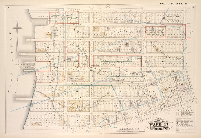Vol. 6. Plate, B. [Map bound by Huron St., Oakland St., Calyer St., East River; Including India St., Java St., Kent St., Green Point St., Milton St., Noble St., Oak St., West St., Franklin St., Guernsey St., Lorimer St., Manhattan Ave., Leonard St., Eckford St.]