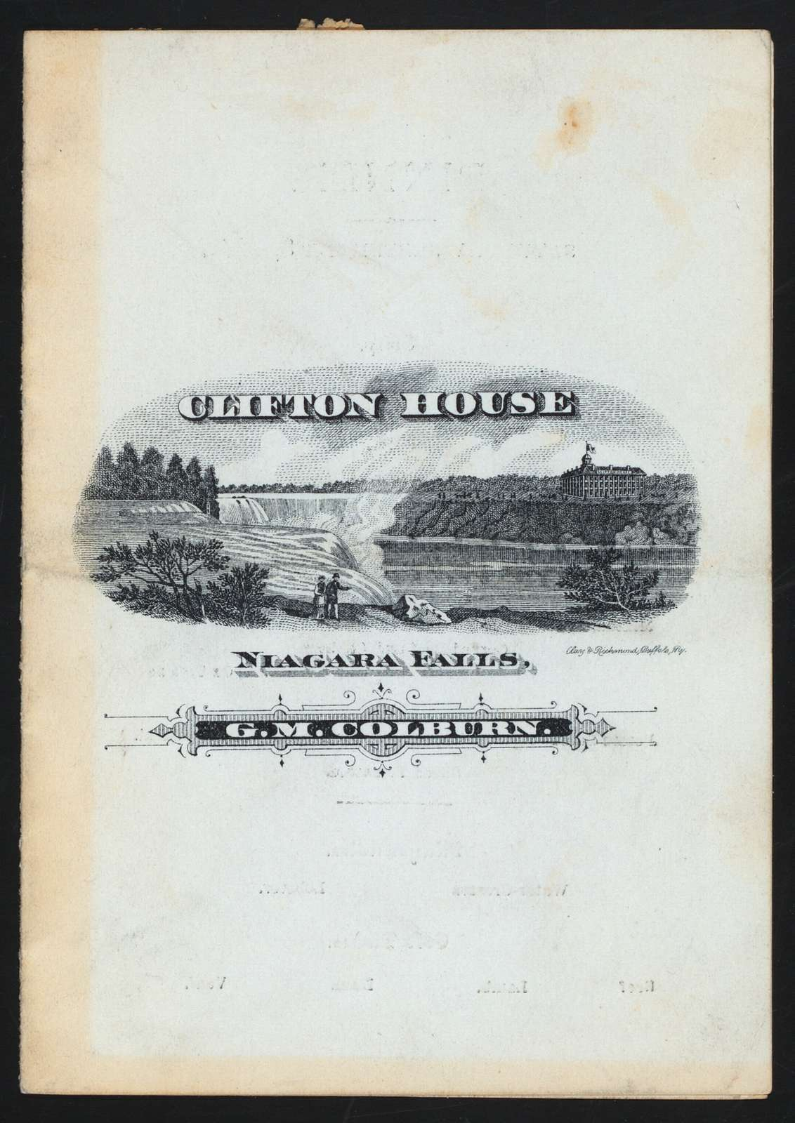 "DINNER [held by] CLIFTON HOUSE [at] ""NIAGARA FALLS, NY"" (COMM)"