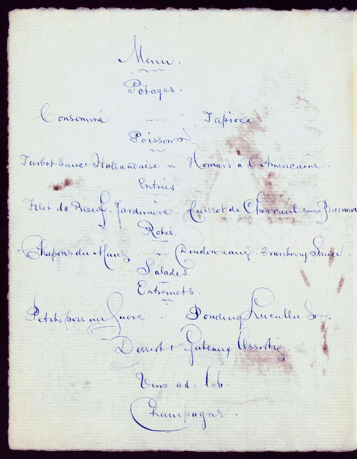 THANKSGIVING DAY MENU & PROGRAM [held by] HOTEL DE DIJON [at] [?FRANCE?] (HOT;)
