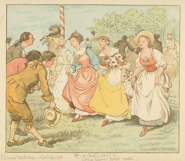 Then every man did put his hat off to his lass, and every girl did curchy, curchy, curchy on the grass